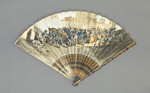 Folding fan with printed and hand coloured paper leaf depicting 'Dos de Mayo'; c. 1813; LDFAN2019.14