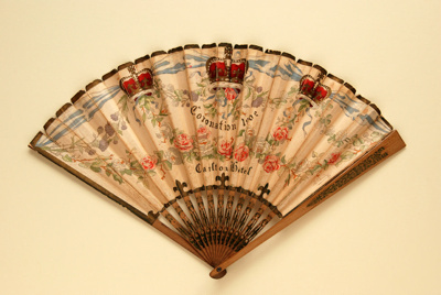 Advertising fan for the Carlton Hotel commemorating 1902 Coronation; Duvelleroy; 1902; LDFAN1991.75