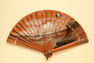 Wooden Brisé Painted Fan; c.1880; LDFAN2008.48