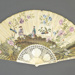 Folding fan, the leaf painted on one side with medley of prints, mounted on ivory sticks and guards.  Reverse painted with chinoiserie landscape; LDFAN2019.16