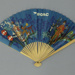 Wooden folding fan with paper leaf advertising BOAC; c. 1950; LDFAN2016.8