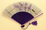 Advertising fan for Thai International Airways' 'Royal Orchid Service'; c.1970; LDFAN2003.428.HA
