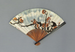 Fan advertising CAAC (China Airlines) decorated with blossom; c. 1960-70; LDFAN2016.7
