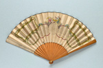 Wooden folding fan with printed and hand-coloured leaf - The Oracle English, c. 1790; LDFAN2014.186