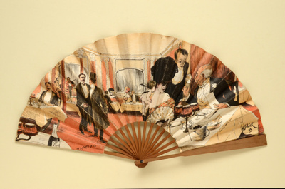 Advertising fan for Minstrel's Bar / Le Rat Mort; Ganné, J, Shick, H; c. 1906; LDFAN2013.8.HA