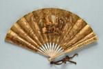 Wooden folding fan with paper leaf advertising Pre Catalan France, c. 1925; LDFAN2014.119