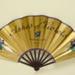 Folding fan advertising Ashes of Violets perfume, Bourjois; LDFAN2007.11.HA