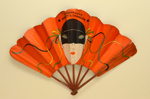 Advertising 'mask' fan for Moet & Chandon champagne ; Ganné, J, Lopez, A; c.1930; LDFAN2003.423.HA