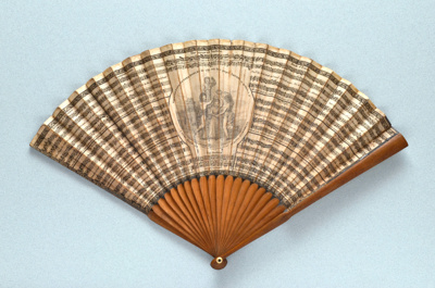 Wooden folding fan printed with country dances English, 1791; LDFAN2014.179