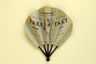 Advertising fan for 'Taky' hair removal cream; Eventails Chambrelent; c. 1930s; LDFAN2001.39