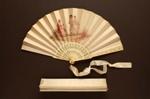 Folding Fan & Box; 1880s - Fan; LDFAN2003.279.Y.A & LDFAN2003.279.Y.B