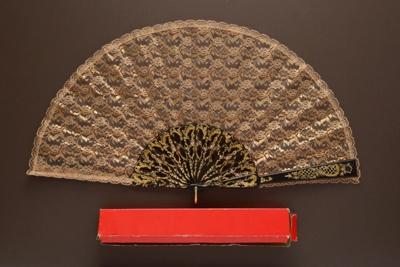 Folding Fan & Box; LDFAN1992.32.1 & LDFAN1992.32.2