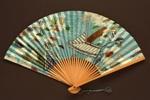 Folding fan advertising Japan Airlines (JAL); c. 1960s; LDFAN1994.17