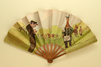 Advertising fan for Heidsieck Dry Monopole champagne; Auteuil racecourse; Eventails Chambrelent; Draeger; SEM; c. 1910; LDFAN1998.18