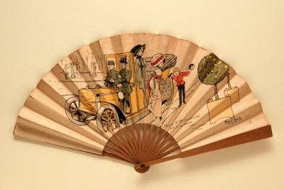 Folding fan advertising Hotel St Petersbourg, Paris; Bloch, Marcel; c. 1905; LDFAN2010.134