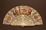 Folding Fan & Box; c. 1860; LDFAN2010.105.A & LDFAN2010.105.B