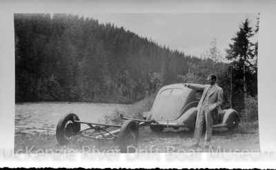 Prince Helfrich looking over Leaburg Lake from Leashore Drive; 1930s; McKenzie River-Dave Helfrich-059