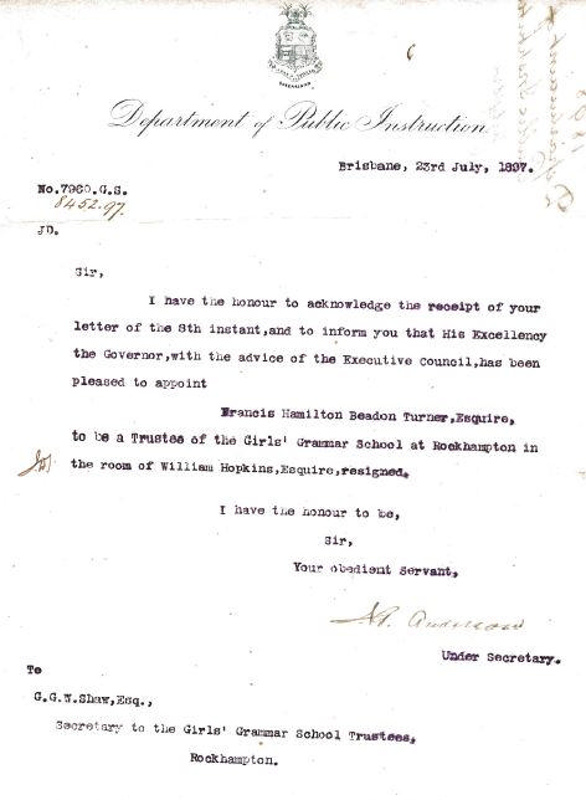 Letter From Department Of Public Instruction To Mr George G W Shaw