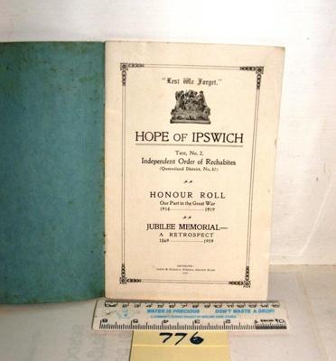Honour Roll - Hope of Ipswich; Jones & Hambly; 1919; R00776