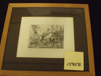 Etching of farmhouse; Wendy Jewell Artist; 1988; R15958