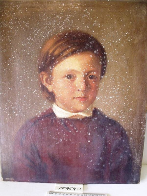 Framed oil painting of a young boy; R15959