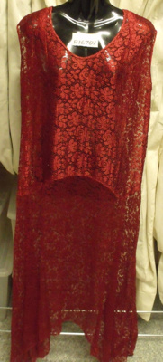 Red evening dress; Marie Whitman; circa 1960s; R16701