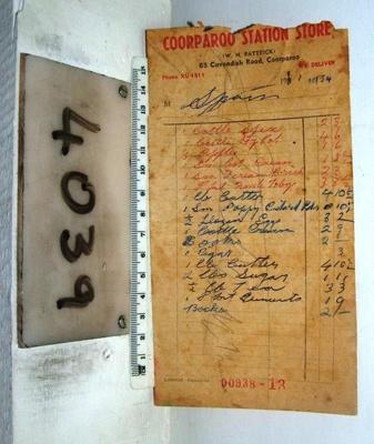 Cash docket 'W.N.Patrick', 1954; Lamson Paragon; 1954; R04039