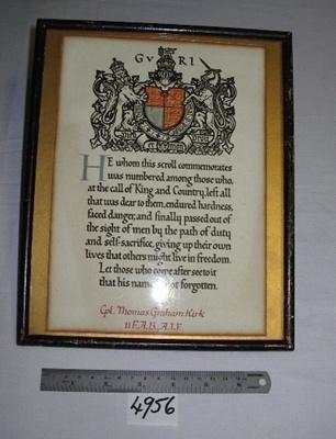 Certificate - Thomas Kirk WW1; R04956