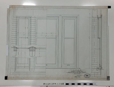 L.N.W.R Alterations to Mr Park's House. Elevations and Sections of West Window (New Bedroom).; 20.11.1901; MILSH:2014.1.1168
