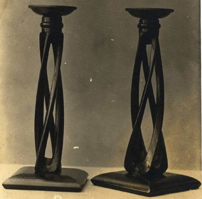 Candlesticks (2) (no reference numbers); Shapland and Petter HLF; 1010