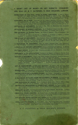 Back Cover of Book, listing books on Art subjects; Shapland and Petter HLF; 1201