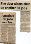 Two Press Cuttings about Job Losses 1993; Shapland and Petter HLF; 2029