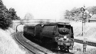 The brand new West Country class locomotive Braunton, 1947; 40-10621