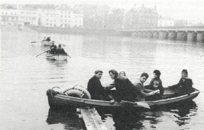 Bidefordians crossing the River Torridge by boat, 1968; Photographer: C Barfoot; 1968; 12