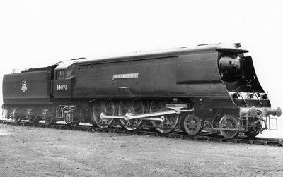 Steam Locomotive 34097 Holsworthy West Country class 4-6-2 at Eastleigh in 1949; 1950; 24-1357