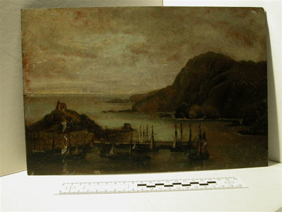 Oil painting of Ilfracombe Harbour & St. Nicholas Chapel. Restored by AMC 1975. Advised 1984 survey to frame/glaze & back hardboard.Too heavy to hang, deframed and put in cabinet of Maritime curiosities on 21.4.2003.; ilfcm.1293
