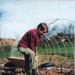 Rory preparing ground for the new poly-tunnel.; 1993; 4-900000