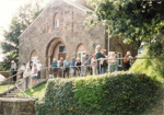 Devon Archaeological Society outside Winkleigh Village hall and Croft Castle.; 1999; 5-529