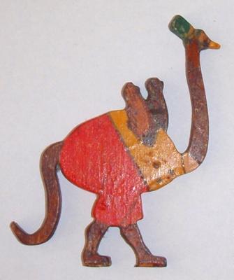 """""""Oscar the Ostrich"""" - Fretsaw cut ostrich plywood toy ; 1930s; BT/NZ 1"""