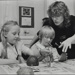 Two girls painting with nursery worker; c. 1970; LMA_4314_07_002_0008