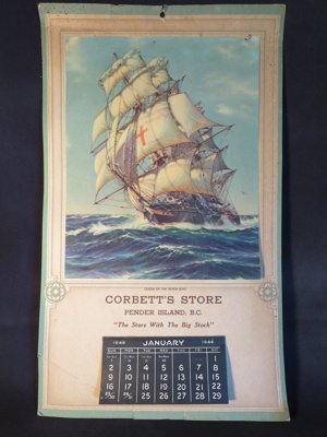 Corbett's Store Calendar; Corbett's Store; 1949; 014.0033.0001