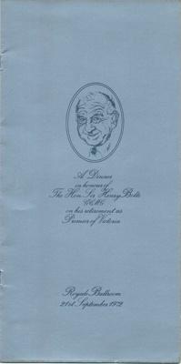 Retirement dinner for The Hon. Sir Henry Bolte GCMG; 21 Sep 1972; 2018.1004