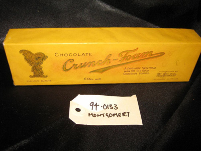 """Chocolate Box: """"Chocolate Crunch - Foam"""" """"A Favourite Sweetmeat With The Old Gold Chocolate Coating"""", rectangular box gold-yellow colour.."""