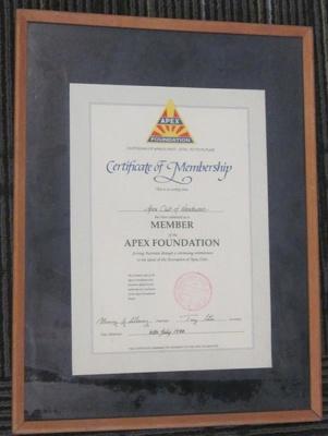 Certificate of Membership, Apex Foundation 6/7/1994; Jul 1994; 2013.0733