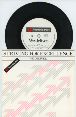 45 Rpm Vinyl Record, Two 45 RPM records featuring the Australia Post song 'We Deliver'..