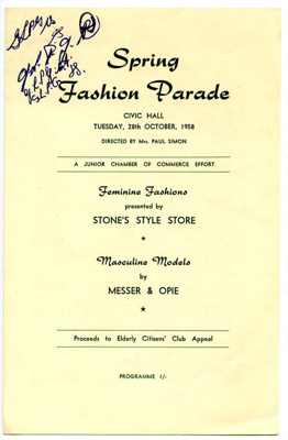 Spring Fashion Parade; Stone's Drapery Store P/L; 28 Oct 1958; 82.0988