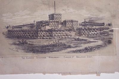 "Lithograph: ""The Eureka Stockade Monument, Eureka Street, Ballarat East"". ""M. Brodie""; 271.81"