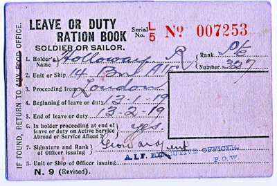 Ration Book; 1918; 05.0158