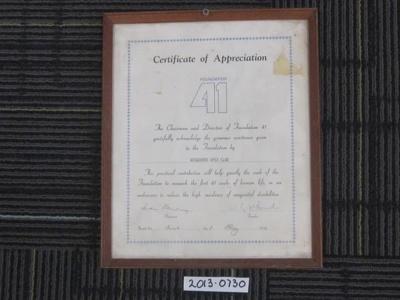 Certificate of Appreciation Wendouree Apex Club; 01 May 1978; 2013.0730
