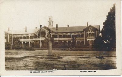 Postcard, Ballarat. The Orphanage, Ballarat. Real Photo series M 285.; Valentine Series; 2014.2233
